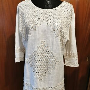 Free People Cream & Beige Cut Out  Dress Size M